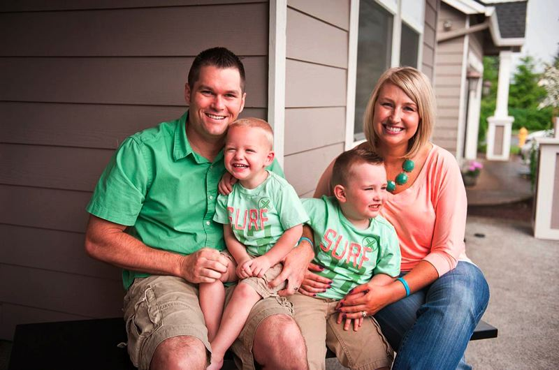Photo Credit: CONTRIBUTED PHOTO: KATI RADZIWON  - Geoffrey, Cooper, 2, Landon, 4, and Lyndsee Wunn celebrated Cooper's adoption in May 2014. He joined the Wunn family in June 2012 as a foster child.
