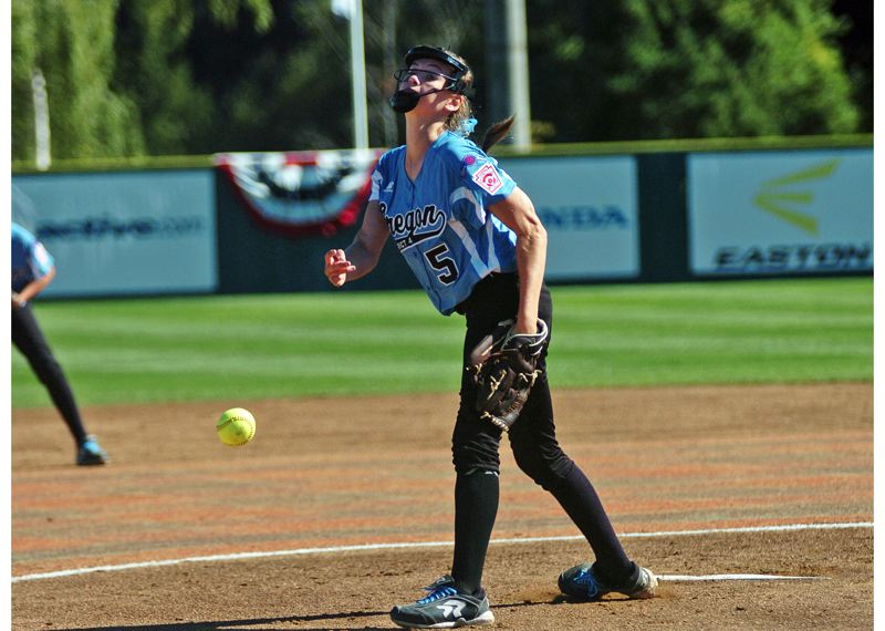 Photo Credit: DAN BROOD - THE DELIVERY -- Tigard/Tualatin City pitcher Elizabeth Hillier fires a pitch to the plate in the first inning of Thursday's Little League Softball World Series opener.