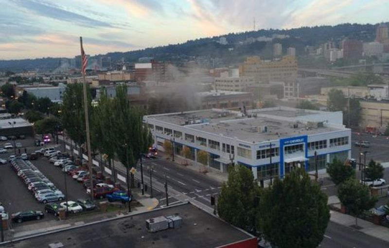 Photo Credit: KOIN 6 NEWS - A fire damaged the historic Osborn Hotel across the street from Wentworth Chevy in Southeast Portland on Friday, Aug. 8.