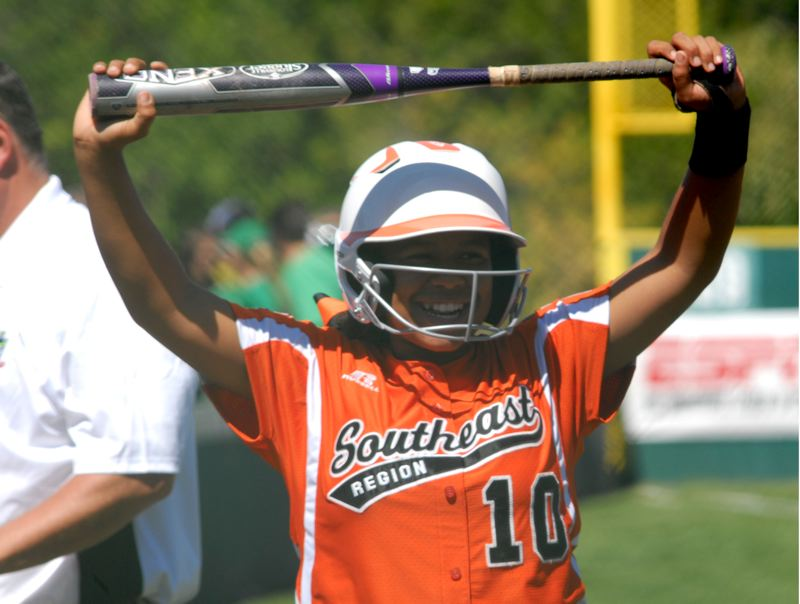 Photo Credit: PORTLAND TRIBUNE: DAVID BALL - Jada Chadwick was all smiles in the on-deck circle during Southeasts 1-0 win over Puerto Rico.