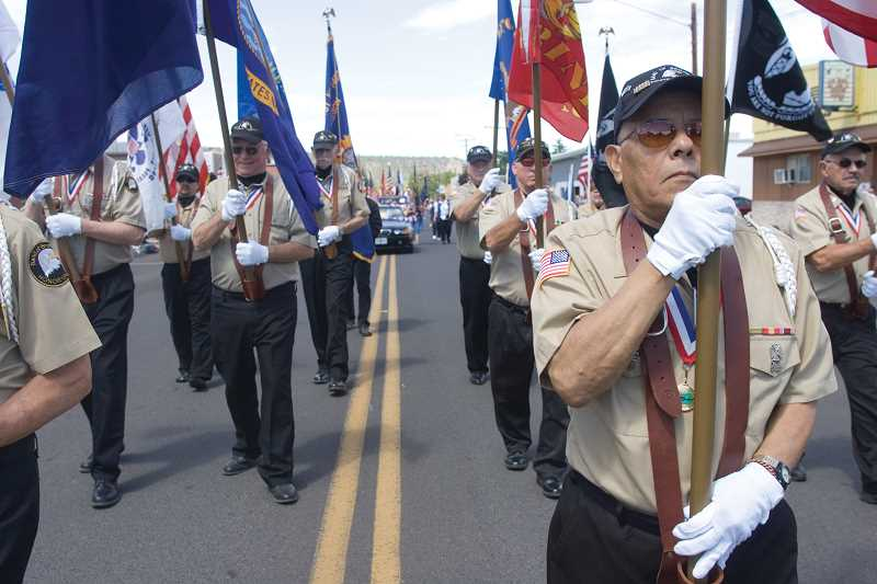 Photo Credit: KEVIN SPERL - The Band of Brothers, shown in the above photo during the local Fourth of July parade, will host a spaghetti feed fundraiser on Saturday.