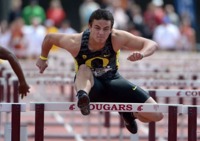 Photo Credit: COURTESY OF UNIVERSITY OF OREGON - As a freshman, Devon Allen won not only the NCAA championship in the 110-meter hurdles but also the U.S. title in the national championships at Sacramento. Less than two months later, he is preparing to catch passes for the Oregon Ducks football team.