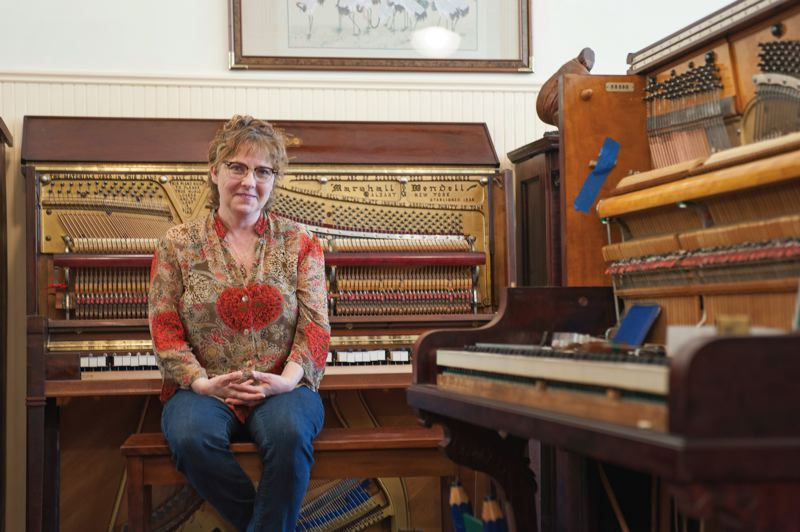 Photo Credit: TRIBUNE PHOTO: JOHN M. VINCENT - The Immortal Piano has room for 42 upright pianos. Martha Taylor knows that if she had more room, shed be tempted to fill the space with even more.