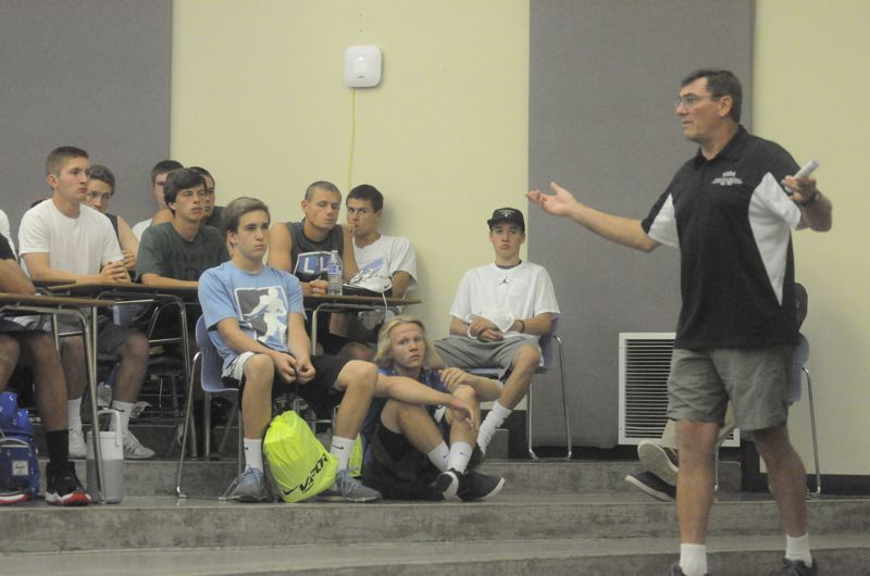 Photo Credit: MATTHEW SHERMAN - Portland Football Officials Commissioner Dave Robbins addresses Lakeridge football players during a meeting at the school Tuesday.