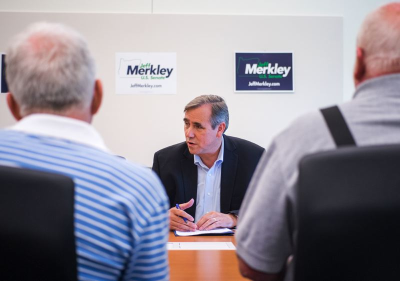 Photo Credit: HILLSBORO TRIBUNE PHOTO: CHASE ALLGOOD - U.S. Sen. Jeff Merkley (D-Ore.) spoke with a group of senior citizens Aug. 6 to hear their views on the current state of senior services in the country. Social Security, managed care and Medicare/Medicaid reform were the primary concerns discussed. About 20 citizens turned out for the reservations-only event, held in the conference room on the second floor of the Hillsboro Main Library.