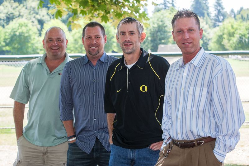 Photo Credit: SPOKESMAN PHOTO: JOSH KULLA - Just Us Guys board members, from right, Christopher DeGroat, Michael Damiano, Bob Kleckner and Brent Timm could not be happier that their organization recently was given official nonprofit status.