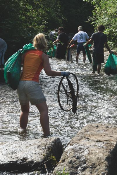 Photo Credit: PHOTO BY: BRUCE MACGREGOR - Last year three and a half tons of trash was removed from five miles of the creek upstream and downstream from Mill Park in Milwaukie.