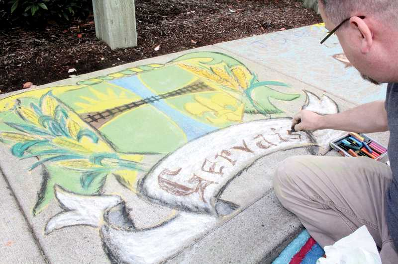 Photo Credit: ARCHIVE PHOTO - This year is the fifth anniversary of the Gervais Festival, which features streets lined with chalk art. This years event, held Sept. 6, will be the first time the sidewalk chalk art will be judged in three categories: Best Gervais Pride, Most Colorful and Most Original.