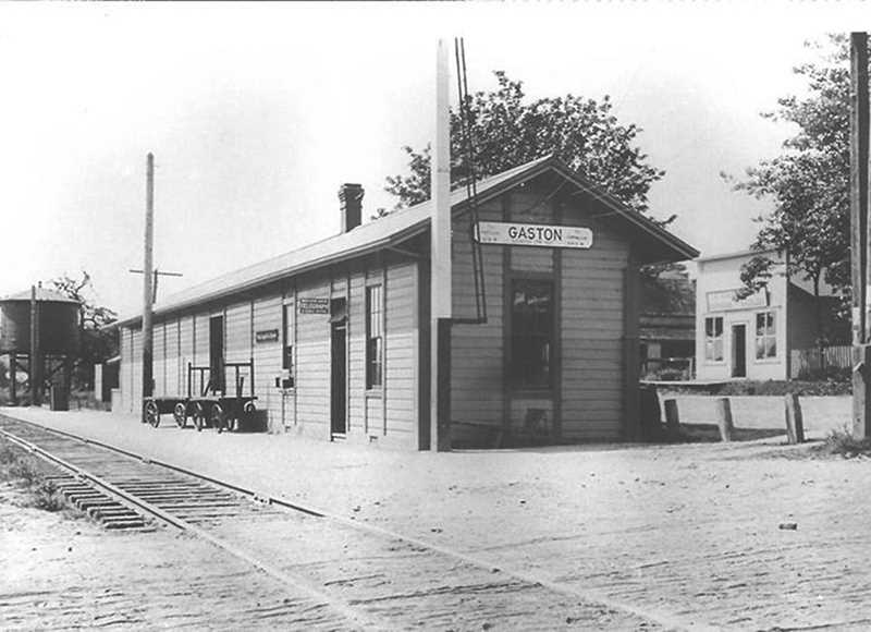 Photo Credit: COURTESY PHOTO - Photos of old-time Gaston such as this one of the old railroad depot will be displayed at the Wapato Showdown this Saturday.