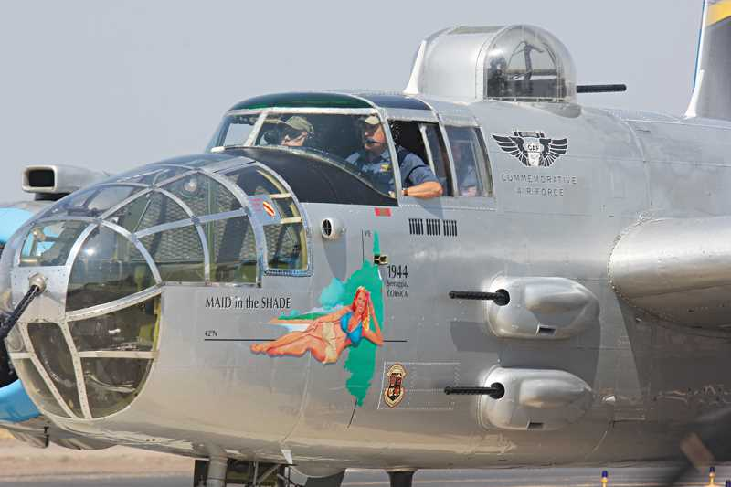 Photo Credit: JEFF WILSON/MADRAS PIONEER - Pilots taxi in after landing the B-25 bomber at the Madras Municipal Airport last Monday for a week-long stay.