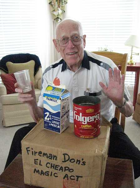 Photo Credit: GAZETTE PHOTO: RAY PITZ - Donald Anderson displays props from Fireman Don's El Cheapo Magic Act, which he brought out to entertain children when he worked for the former Tualatin Rural Fire Protection District.