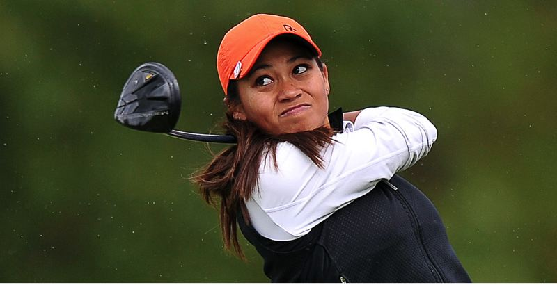 Photo Credit: SCOBEL WIGGINS - BIG SHOT -- Seshia-Lei Telles watches her drive sail away during play at the Pac-12 championships.