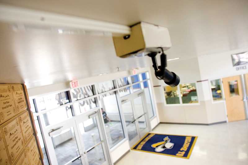 Photo Credit: KEVIN SPERL - A new camera waits to be activated in the lobby of Crook County High School.