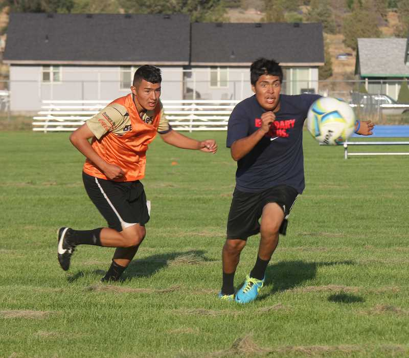 Photo Credit: JEFF WILSON/THE PIONEER - Jose Romero, left, and Oved Felix make up part of a group of returning players that have their sights set on a deep playoff run this year.