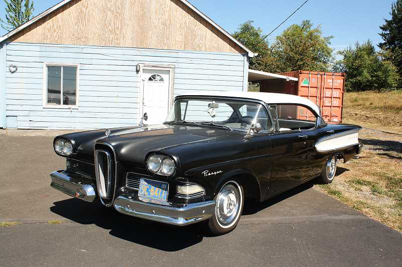 Photo Credit: POST PHOTO: LAURA KNUDSON  - Less modifications have been made to Milnes black and white 58 Edsel.