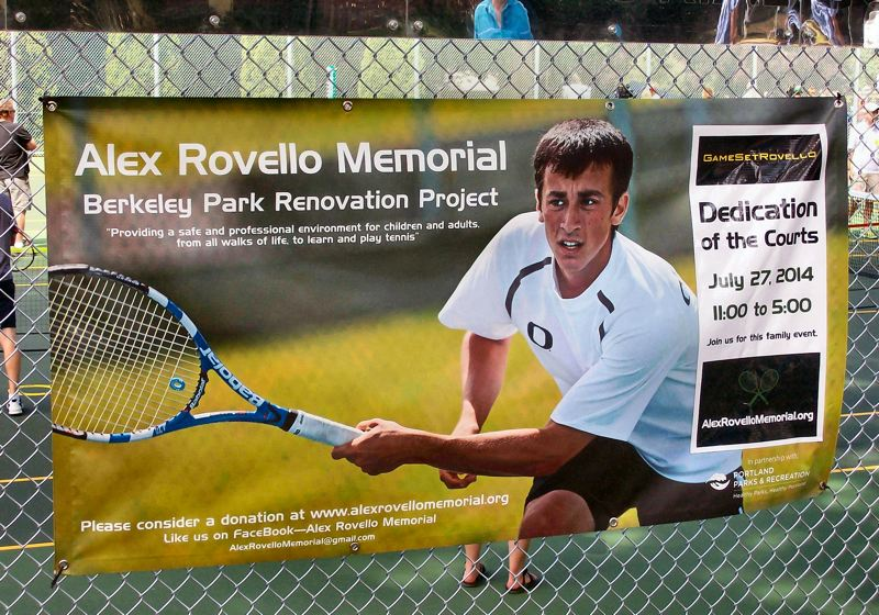 Photo Credit: RITA A. LEONARD - Eastmorelands Berkeley Park tennis courts were christened the Alex Rovello Memorial Tennis Courts at a special celebration on July 27.