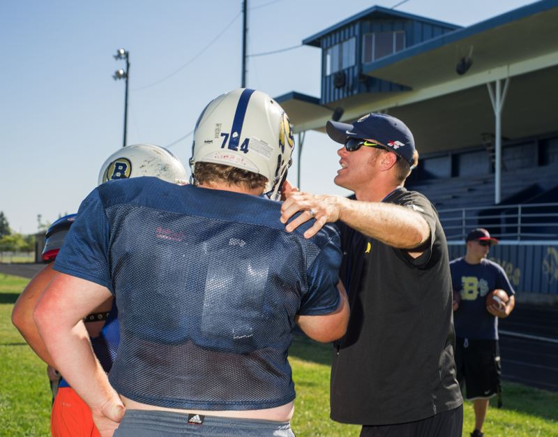 Photo Credit: NEWS-TIMES PHOTO: CHASE ALLGOOD - Cole Linehan and the Banks football team have been hard at work ahead of their Sept. 5 season opener at North Marion.