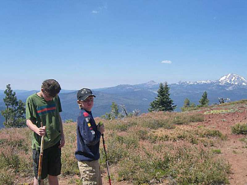 Photo Credit: SUBMITTED PHOTO - The Lantow brothers have been hiking for years. Paul, left, and Sam used walking sticks to travel around Mount Harkness in Lassen Volcanic National Park in California.