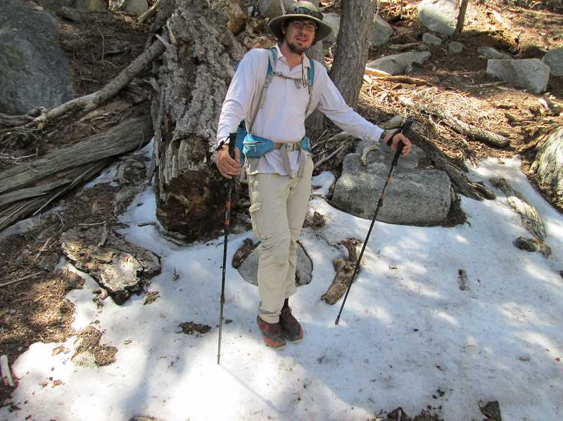 Photo Credit: SUBMITTED PHOTO - Paul Lantow walks the snowy terrain of  San Jacinto Mountains.