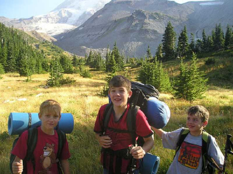 Photo Credit: SUBMITTED PHOTO 8 - The Lantow brothers, as boys, hiked the Timberline Trail, from left, Sam, Paul and Kyle.