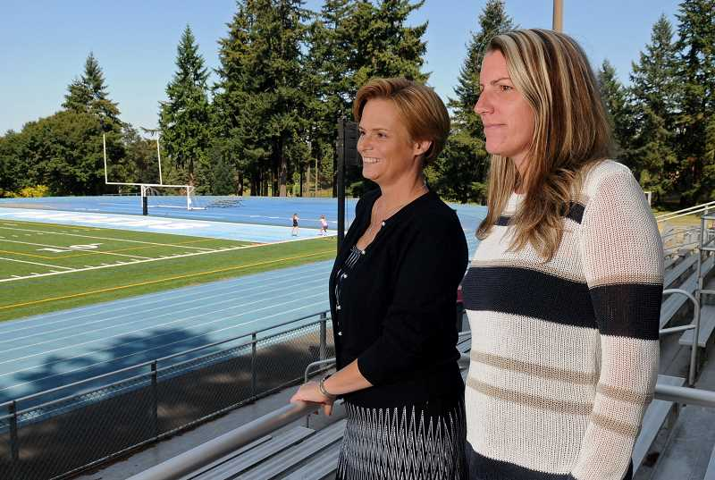 Photo Credit: REVIEW PHOTO: VERN UYETAKE - Lake Oswego School District Superintendent Heather Beck (left) and Lakeridge High School Principal Jennifer Schiele have vowed to keep a close eye on the embattled Pacer football program, currently on probation for OSAA violations.