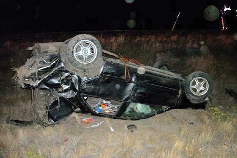Photo Credit: OSP PHOTO - Three Warm Springs girls were seriously injured in an early morning crash on U.S. Highway 26, southeast of Madras, Aug. 25.