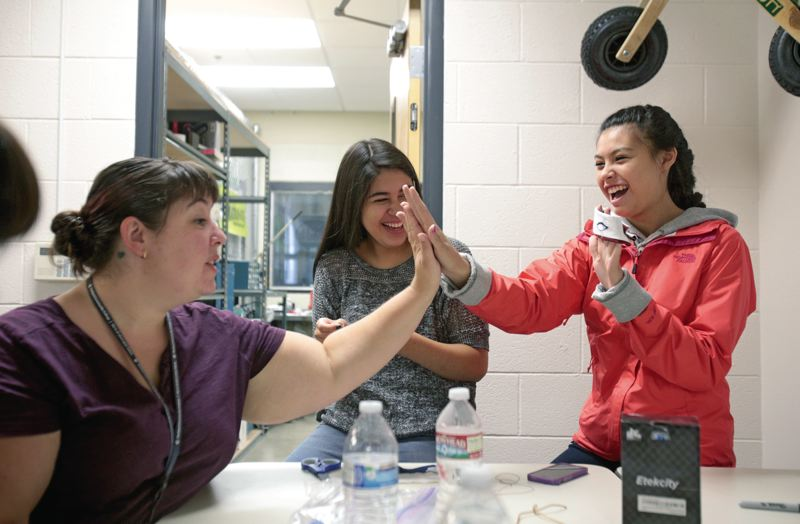 Photo Credit: TIMES PHOTO: JONATHAN HOUSE - Fifteen students attended a 'wearable tech' workshop at Portland Community College's Sylvania campus last week, where they learned how to combine clothing and accessories with technology.