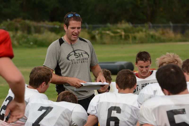 Photo Credit: JOHN WILLIAM HOWARD - Lion head coach Jared Phillips addresses the team after practice. Phillips, now in his second season, said this year things are far less stressful, both on and off the field.