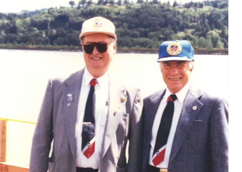 Photo Credit: COURTESY OF JOHN MASARIK - BUSY RETIREMENT - John Masarik (right) poses with Crist Vokos when Vokos was president and John was a director of the Columbia-Willamette League for Merchant Marine Veterans.