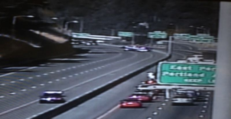 Photo Credit: COURTESY KOIN 6 NEW - ODOT camera shows a portion of I-84 shut down before of shooting.