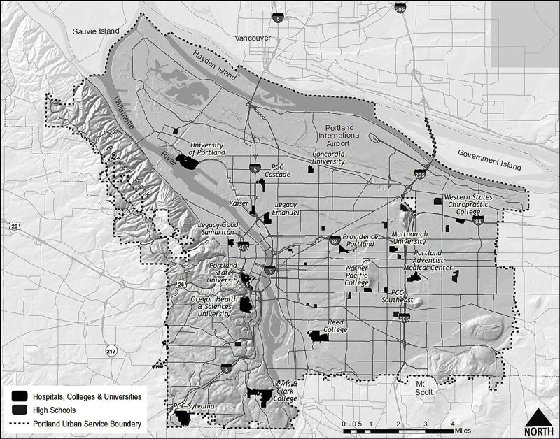 Photo Credit: MAP COURTESY OF BUREAU OF PLANNING AND SUSTAINABILITY - Portland planners want to grant more flexibility and institutional zoning for hospitals, colleges and high schools to build on their campuses, which could limit input from surrounding neighbors.