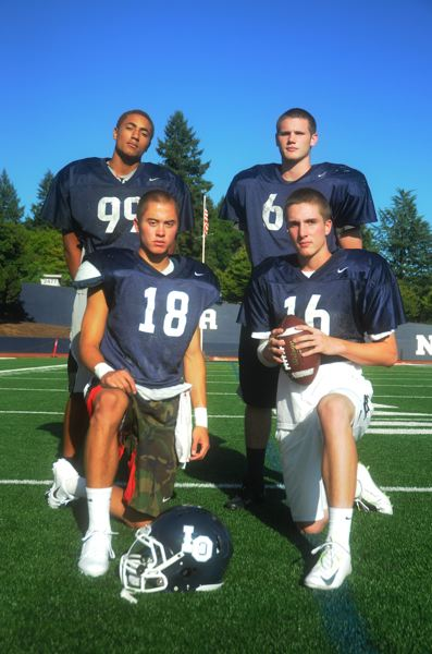 Photo Credit: MATTHEW SHERMAN - Clockwise from back left, Kayode Rufai, Mack Tenneson, Mitchell Verburg and Zach Parker all figure to play a major role for the Lake Oswego football team this year. The Lakers caught some tough breaks last year, bowing out in the second round of the playoffs but expect a return to form this fall.