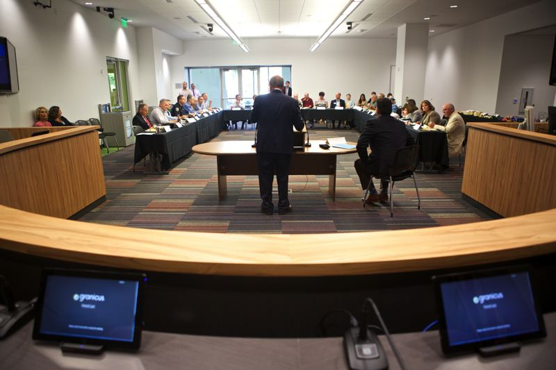 Photo Credit: TIMES PHOTO: JAIME VALDEZ - Beaverton Mayor Denny Doyle begins a legislative forum Tuesday afternoon in the new City Council Chambers in the Beaverton Building at The Round.