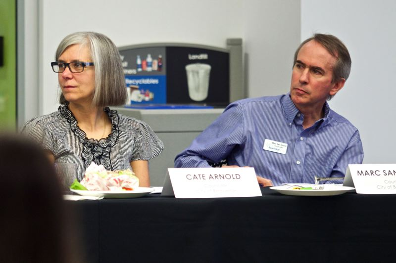 Photo Credit: TIMES PHOTO: JAIME VALDEZ - Beaverton City Councilors Cate Arnold and Marc San Soucie listen to Craig Honeyman, legislative director for the League of Oregon Cities, address concerns about property tax reform during a legislative forum in Beaverton.