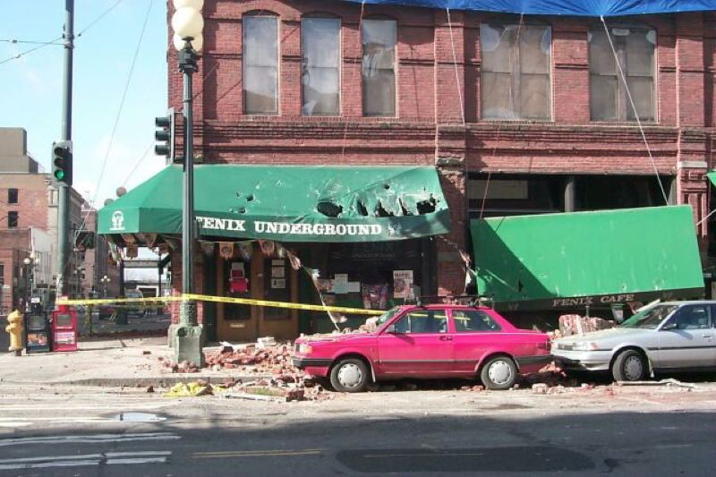 Photo Credit: COURTESY OF THE OREGON DEPARTMENT OF GEOLOGY AND MINERAL INDUSTRIES - Damage to a building in Seattle caused by the Nisqually earthquake in early 2001. The quake struck near Olympia, Wash., and was felt throughout western Washington and northwestern Oregon.
