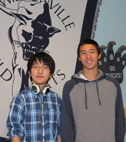 Photo Credit: SPOKESMAN PHOTO: KATE HOOTS - Eric Byun, left, and Sam Laurin were named National Merit semifinalists this month. The two WHS seniors are eligible to compete for $33 million in scholarships made available to semifinalists who become finalists.