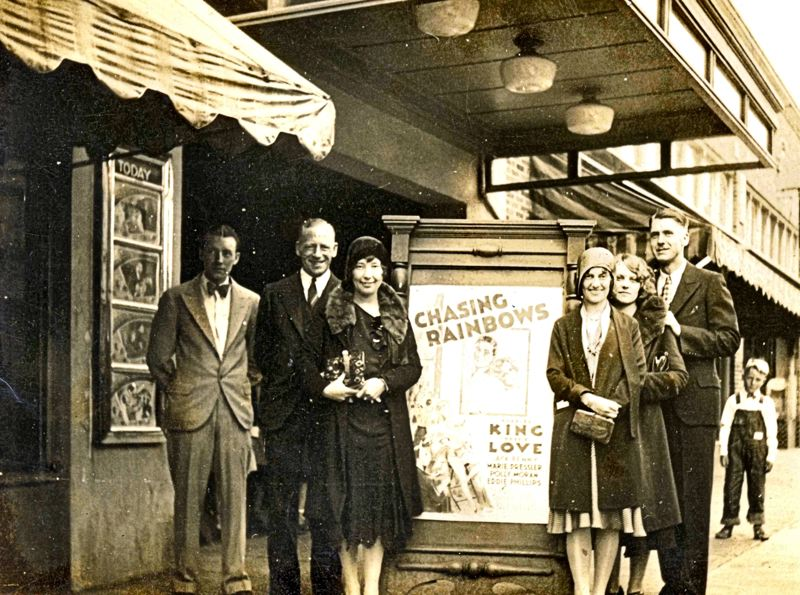 Photo Credit: COURTESY OF DON NELSON - The Moreland Theater opened in 1925. The couple shown on the left in this photo might be Ken and Geneva Cockerline, but that is not confirmed. The Cockerlines purchased the Moreland Theater in 1927; when Ken died in 1946 Geneva and her sister ran the Moreland Theater until about 1976. Chuck Nakvasil is the theaters current owner.