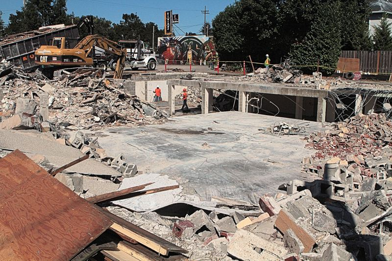 Photo Credit: DAVID F. ASHTON - The block is levelled; the demolition continues down into the basement area.