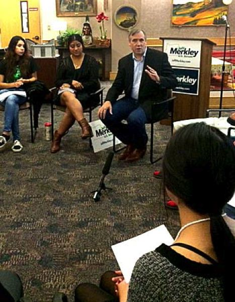 Photo Credit: TRIBUNE PHOTO: PETER WONG - U.S. Sen. Jeff Merkley spent Thursday on college campuses discussing the cost of higher education, including talking with students at Chemeketa Community College in Salem.