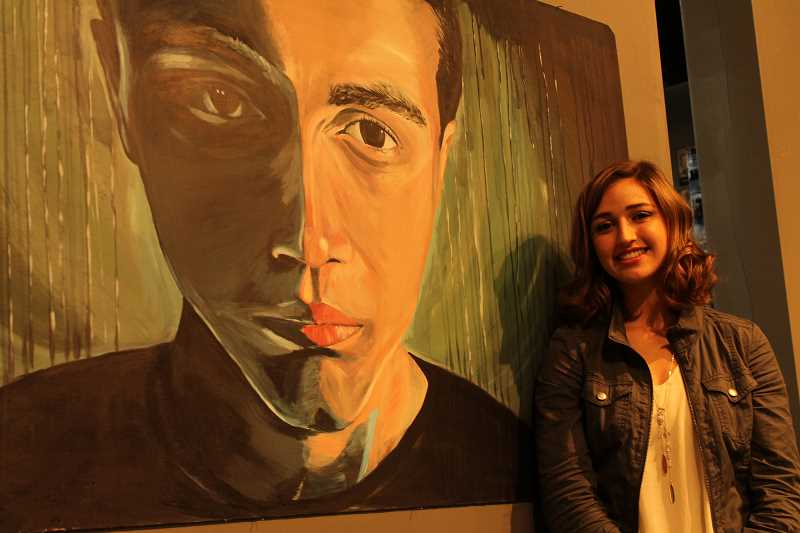 Photo Credit: SPOKESMAN PHOTO: KATE HOOTS - WHS senior Anne-Marie Wieland will display this untitled painting at the Charbonneau Arts Festival this weekend.