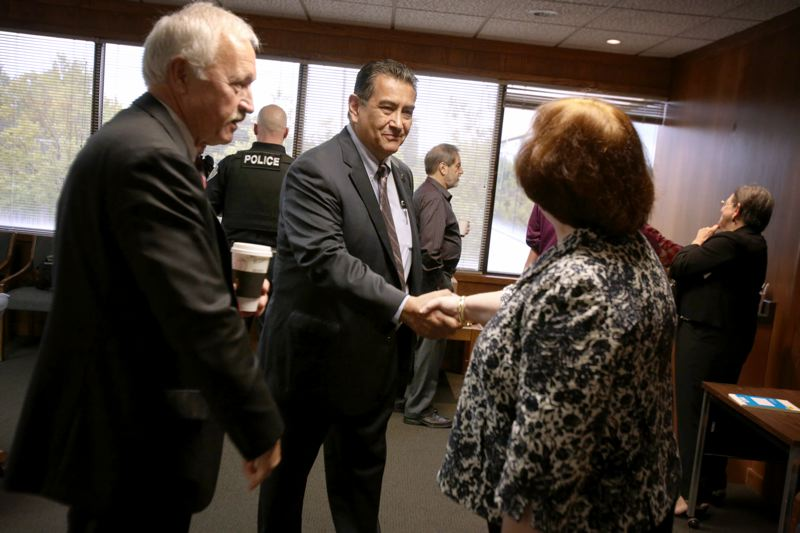 Photo Credit: TIMES PHOTO: JONATHAN HOUSE - Judge Michael Kavanaugh, senior director of the National Center for Driving While Intoxicated courts, meets local judges John Mercer and Judith Matarazzo in Beaverton on Friday.