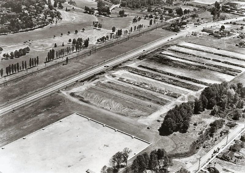 Photo Credit: COURTESY OF SMILE HISTORY COMMITTEE - Aerial view of the construction of Westmoreland Park by the WPA workers in 1935. The McLoughlin Super Highway can be seen in the background.