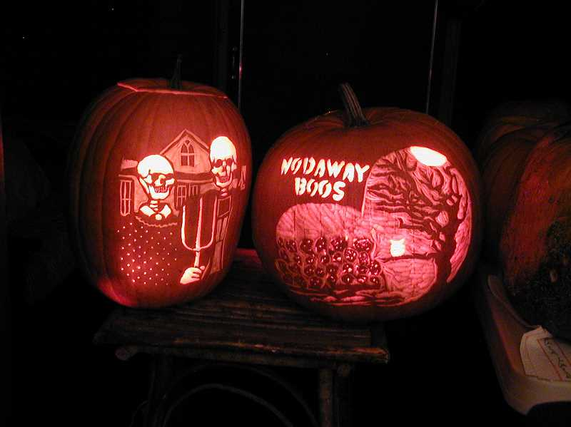 Judi Jarosh of Lake Grove created these two jack-o-lanterns. She likes the tedious nature of carving them.