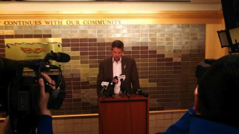 Photo Credit: KOIN 6 NEWS - Tri-County Health Officer Dr. Paul Lewis announced the women visitor from Africa tested negative for Ebola at a Sunday press conference.
