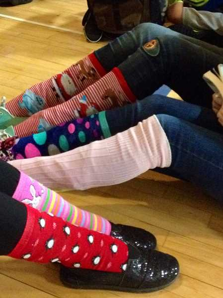 Photo Credit: CONTRIBUTED PHOTO - Sandy Grade students donned their craziest socks for the Sock it to Drugs day during Red Ribbon Week.