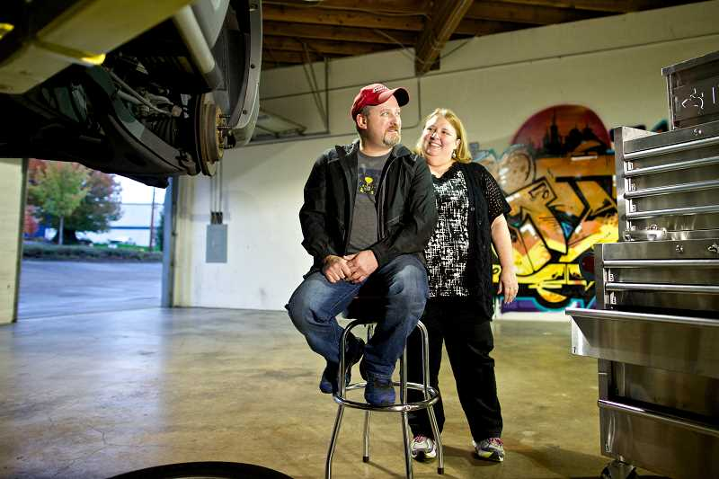 Pamplin media group new tigard garage is driven to succeed photo credit times photo jaime valdez michael crone and his wife debbie solutioingenieria Images