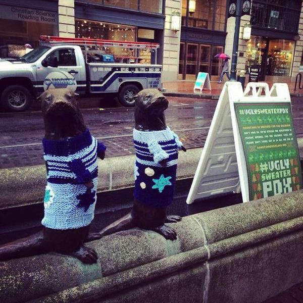 Photo Credit: COURTESY OF THE PORTLAND BUSINESS ALLIANCE - Downtown Portland statues were 'yarn bombed' Thursday, Nov. 13, to kick off the city's pop-up shop program, and signal the start of the holiday event season.