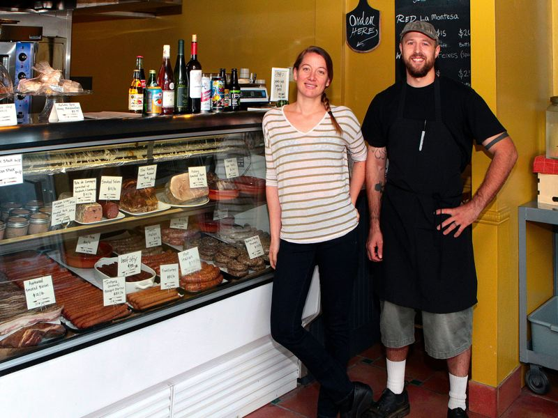 Photo Credit: DAVID F. ASHTON - In their new Sellwood deli FeastWorks, Chef Ashley Bisagna and charcuterie master Ethan Bisagna now offer their handmade meats, all year long.