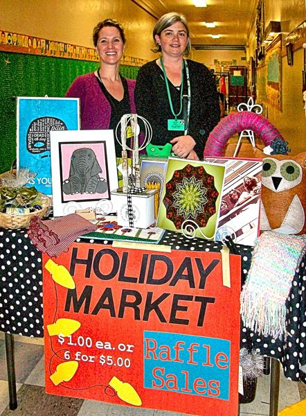 Photo Credit: RITA A. LEONARD - Co-Chairs Marya Woldridge and Tammy Dean ran the Raffle Table at this years Llewellyn Holiday Market.