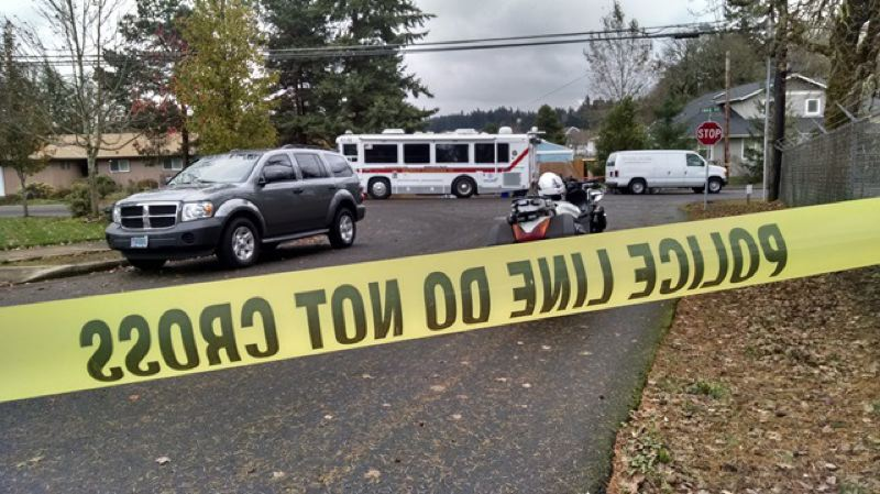 Photo Credit: PHOTO BY: KOIN 6 NEWS - A husband and wife are found wounded on the driveway of an Oregon City home Nov. 25.